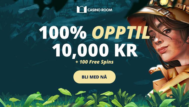 Kr. 10 000,- velkomstbonus tilgjengelig på Casino Room