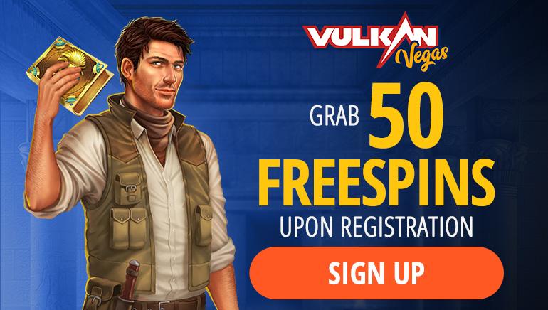 Vulkan Vegas Casino - BONUSPAKKE €1000 + GRATIS SPIN-BONUS 125 + INGEN INNSKUDD FS50 On Book of Dead