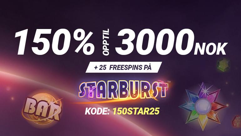 Eksklusivt: 25 gratisspinn og 150% opptil 3000 NOK hos Bet90
