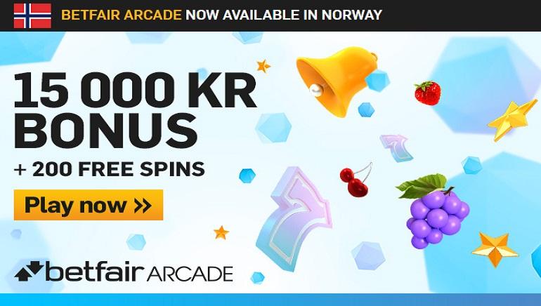 Betfair Arcade Bonus: 15,000KR + 200 gratisspinn å nyte, hundrevis av spill