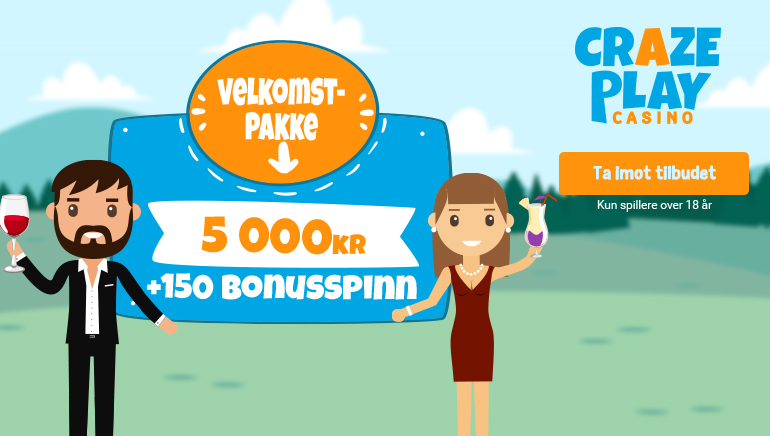 CrazePlay Casinos massive 5000kr velkomstilbud  + 150 Free Spins