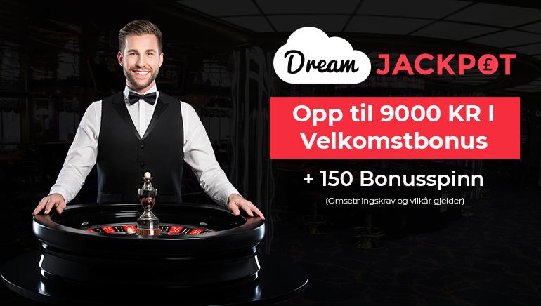 Drømmer går i oppfyllelse med en 9000 kr bonus hos Dream Jackpot Casino