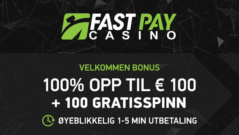 €100 Bonus og 100 gratisspinn for nye spillere på FastPay Casino