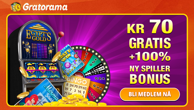 Få med en 70 kr gratis og generøs velkomst hos Gratorama