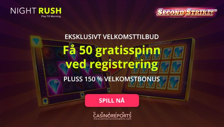 Få 50 gratisspinn uten innsatskrav hos Nightrush Casino