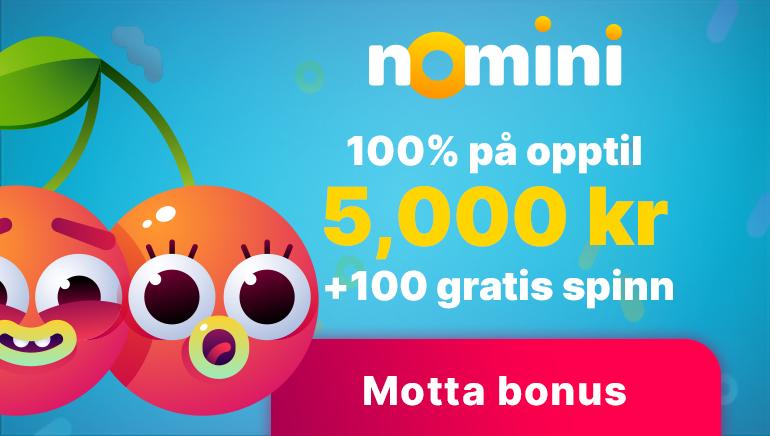 Nomini Casino velkomstbonus verdt Kr. 5 000,- pluss 100 gratisspinn og andre flotte bonuser