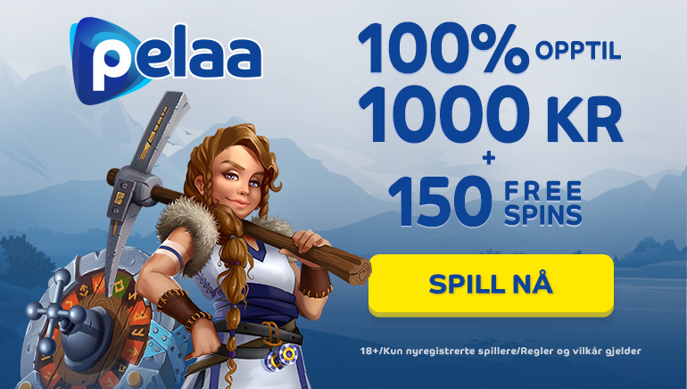 Pelaa Casino har en velkomstbonus pakke verdt opptil Kr. 10 000 ,- for nye norske spillere