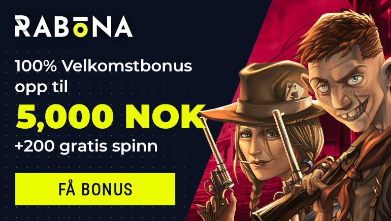 Få Rabona Casinos Kr. 5 000 ,- velkomsttilbud med 200 gratisspinn