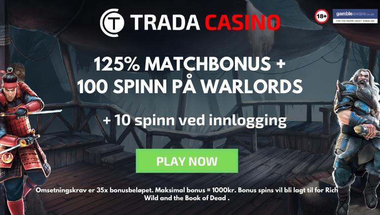 Trada Casino tilbyr 125% bonus med 110 spinn for 2020