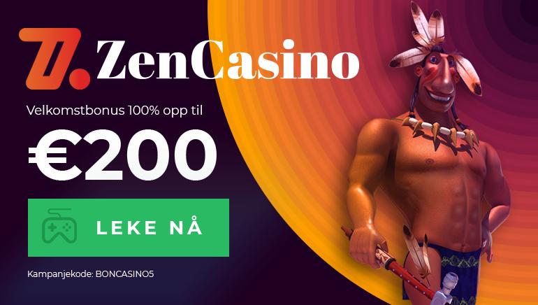 Begynn ditt Zen Casino eventyr med 100% opptil €200 i velkomstbonus