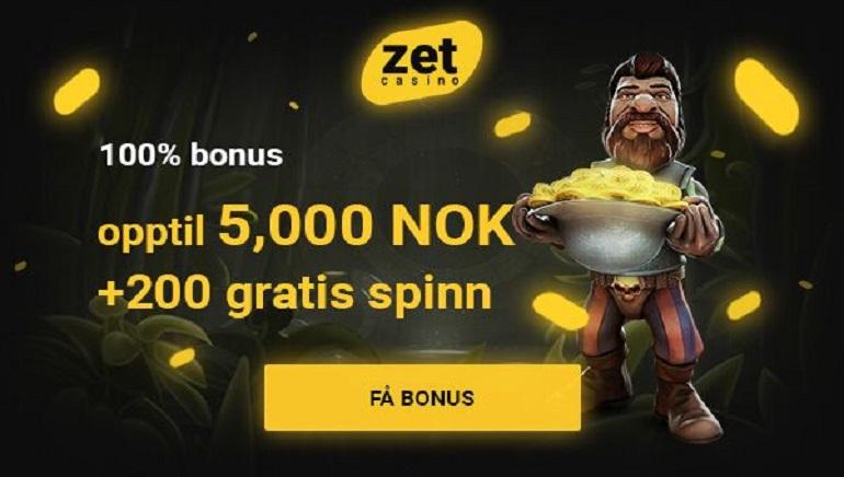 Utrolig 5 000 nok velkomst bonus & 200 free spins venter på deg hos Zet Casino